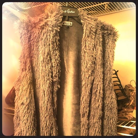 Angie Tops - Faux Fur Vest ..
